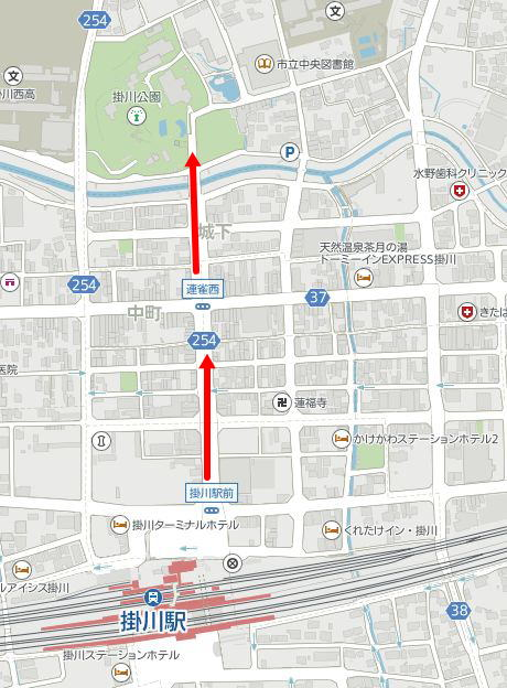 掛川駅から掛川城への行き方