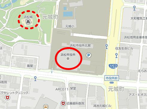 浜松市役所と浜松城の地図